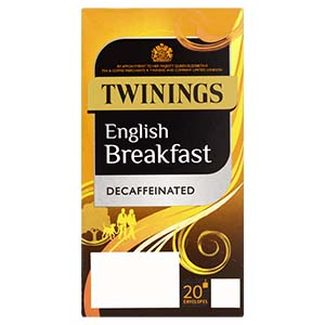 TWININGS ENGLISH BREAKFAST DECAFFEINATED TAG & ENVELOPE TEA BAGS (20 bags)