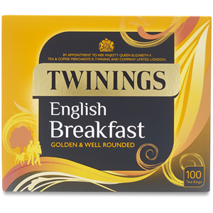 TWININGS ENGLISH BREAKFAST TEA BAGS (100 bags)