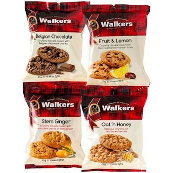 WALKERS MINI PACK ASSORTED BISCUITS (2-pack) x 100